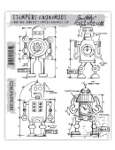 Stampers Anonymous/Tim Holtz - Cling Mount Stamp Set - Robots Blueprint - CMS233